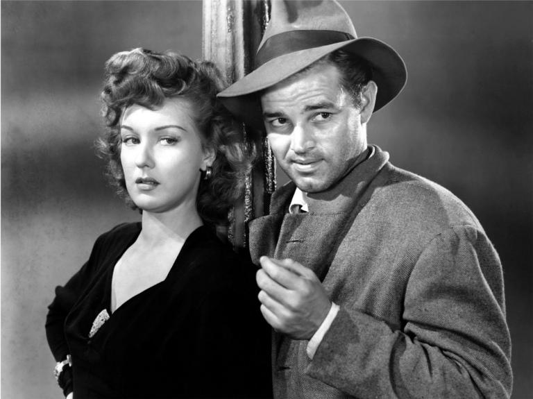 DETOUR, Ann Savage, Tom Neal, 1945, lamppost