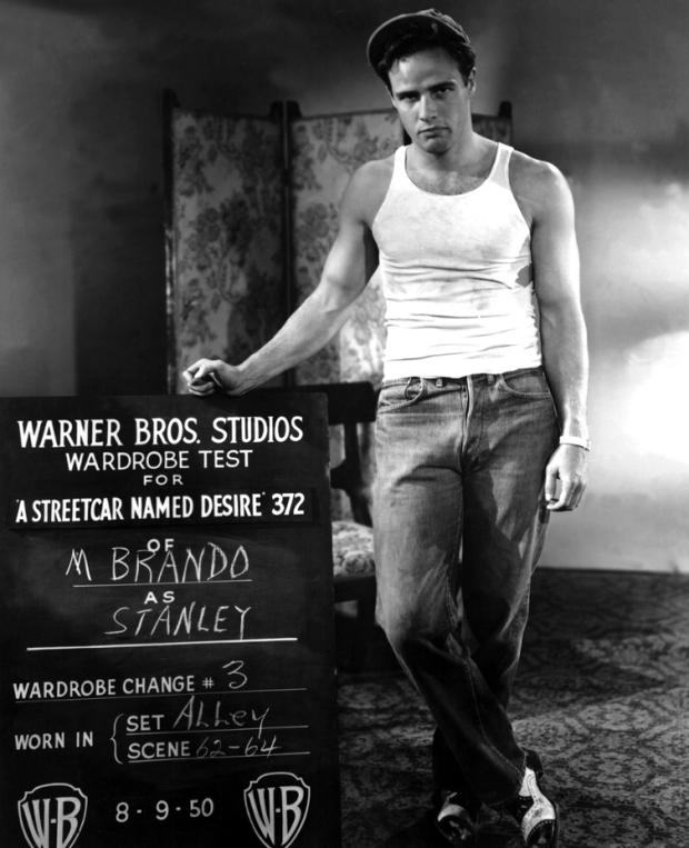 Marlon Brando wardrobe test shot for A STREET CAR NAMED DESIRE, 1950
